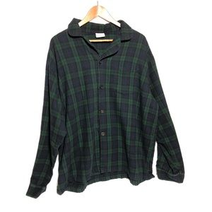 LL Bean Blue and Green Plaid Flannel Pajama Top